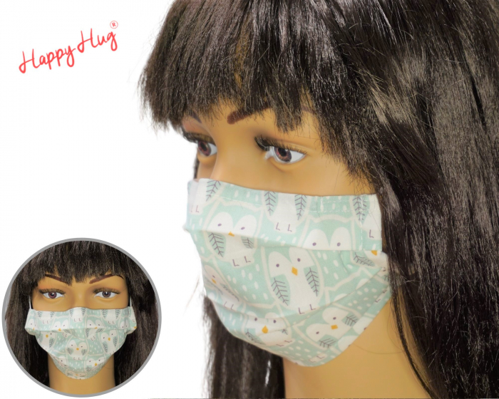 Mască Textilă cu Pliuri - Bufnițe Pastel 0