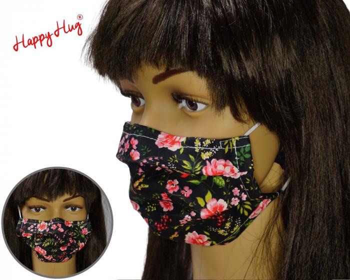 Mască Textilă cu Pliuri - Bujori pe fond negru 0