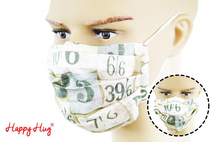 Mască Textilă cu Pliuri - Cifre 0