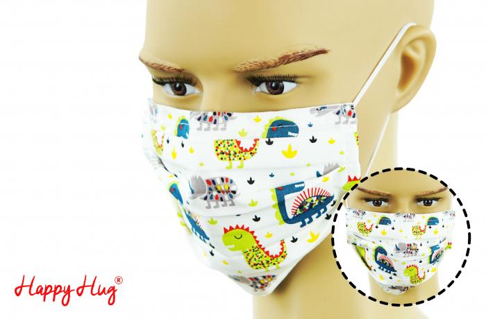 Mască Textilă cu Pliuri - Dinozauri 0