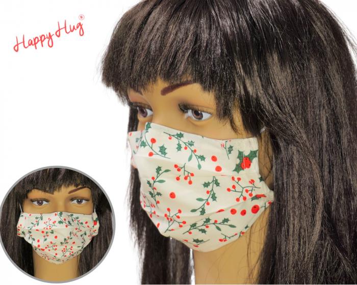 Mască Textilă cu Pliuri  - Floarea Craciunului [0]