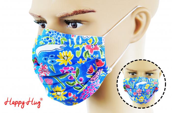 Mască Textilă cu Pliuri - Flori Colorate Albastru [0]