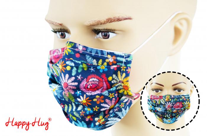 Mască Textilă cu Pliuri - Flori Colorate - bleumarin 0