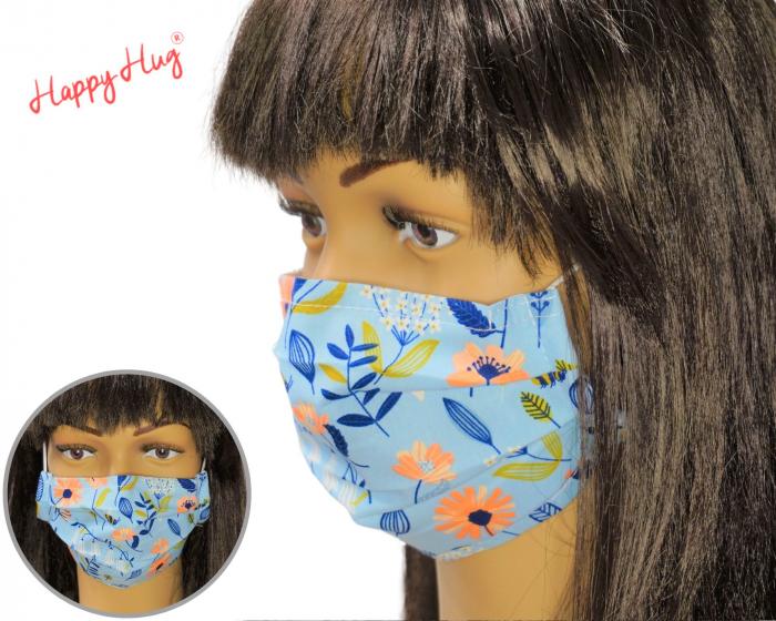 Mască Textilă cu Pliuri - Flori Colorate Romburi 0