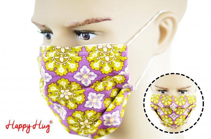 Mască Textilă cu Pliuri - Flori Crem - mov [0]