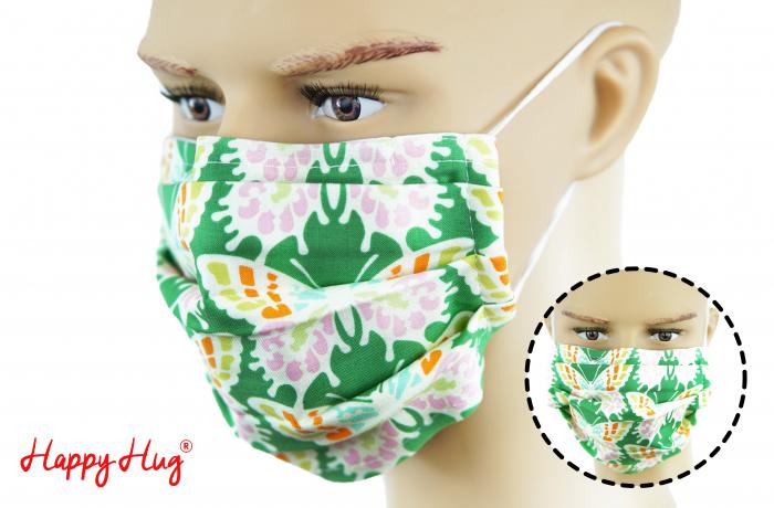 Mască Textilă cu Pliuri - Fluturi Roz [0]