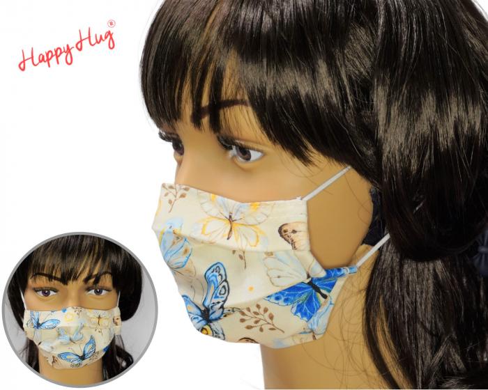 Mască Textilă cu Pliuri - Fluturi turcoaz 0