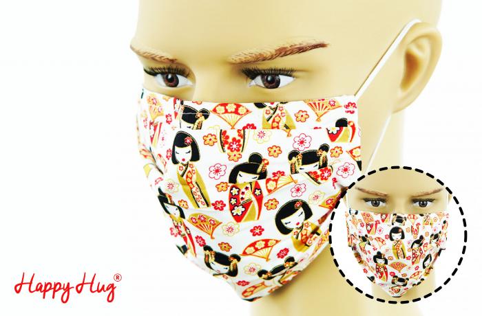 Mască Textilă cu Pliuri - Gheișe 0