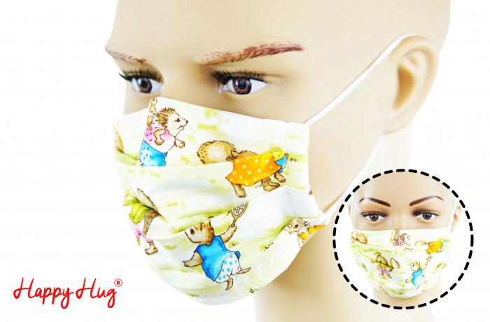 Mască Textilă cu Pliuri - Iepurași 0