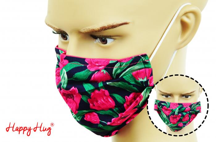 Mască Textilă cu Pliuri - Lalele 0