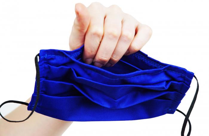 Mască Textilă cu Pliuri - Lalele bleumarin 2