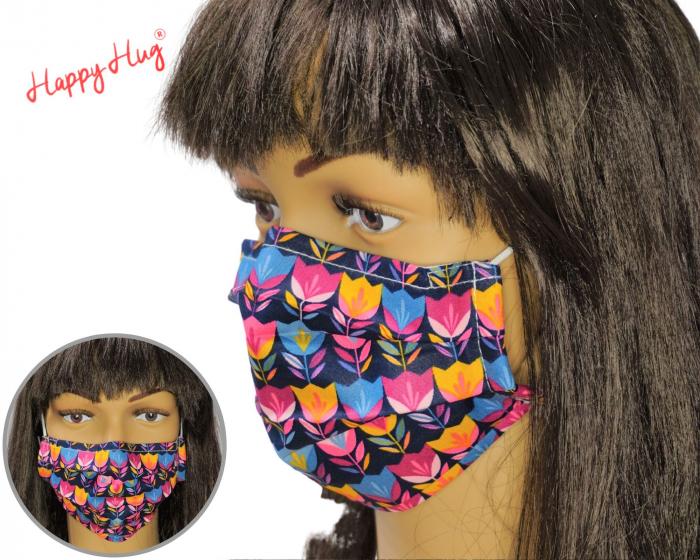 Mască Textilă cu Pliuri - Lalele bleumarin 0