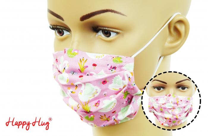 Mască Textilă cu Pliuri - Lebede Roz 0