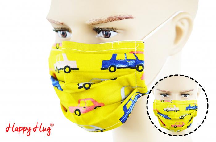 Mască Textilă cu Pliuri - Mașini Galbene 0