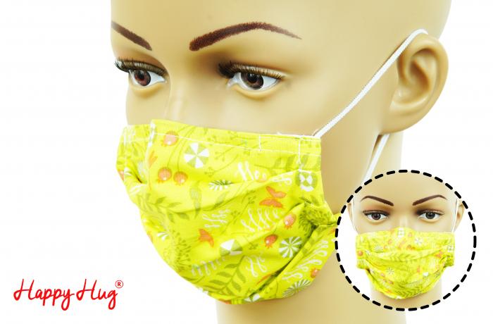 Mască Textilă cu Pliuri - Măceșe 0