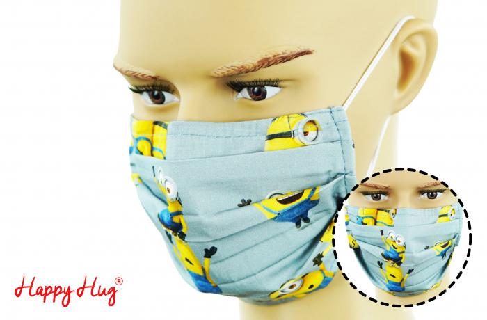 Mască Textilă cu Pliuri - Minioni 0