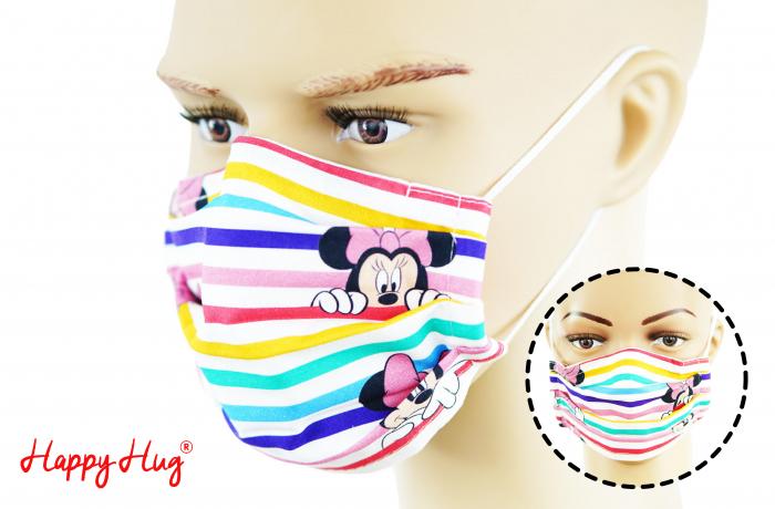 Mască Textilă cu Pliuri - Minnie Dungi Colorate 0