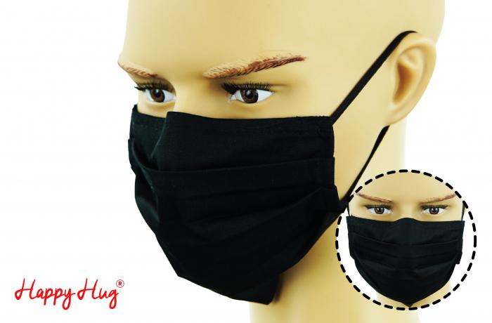 Mască Textilă cu Pliuri - Negru [0]