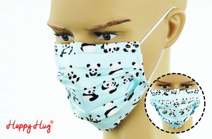 Mască Textilă cu Pliuri - Panda Bleu 0