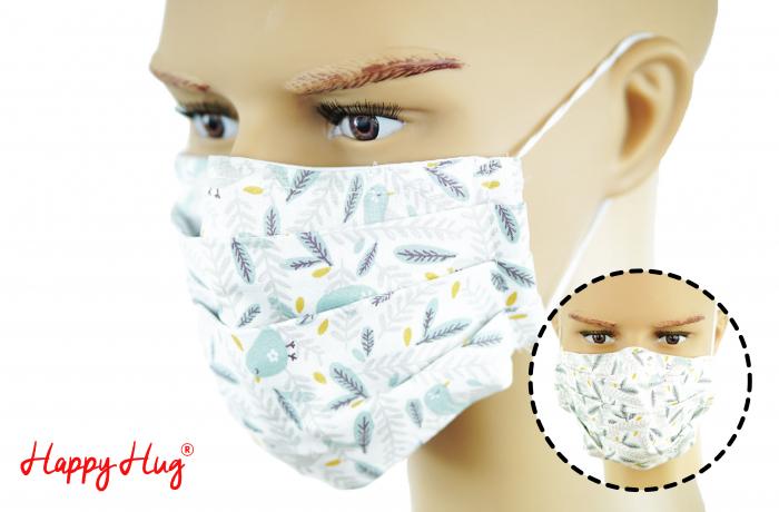 Mască Textilă cu Pliuri - Pene Pastel 0
