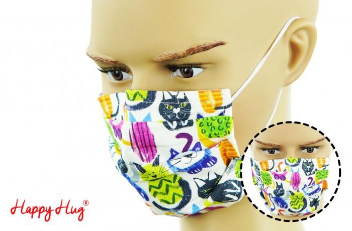 Mască Textilă cu Pliuri - Pisici ciclam 0