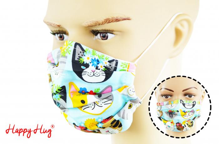 Mască Textilă cu Pliuri - Pisici cu Flori 0