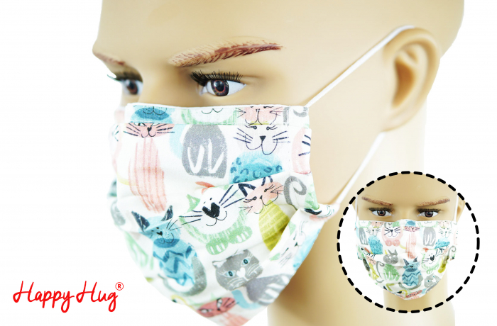 Mască Textilă cu Pliuri - Pisici Pastel 0