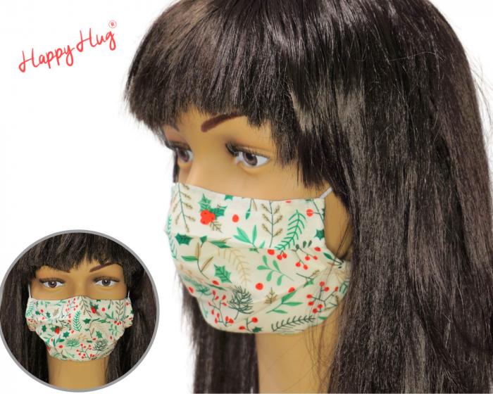 Mască Textilă cu Pliuri - Plante Craciun 0