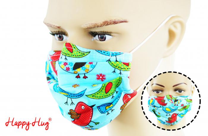 Mască Textilă cu Pliuri - Păsări Colorate Turcoaz 0