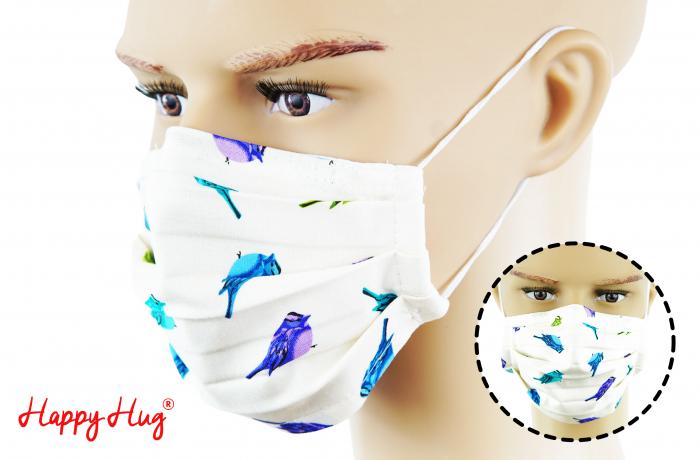 Mască Textilă cu Pliuri - Păsări Mov 0