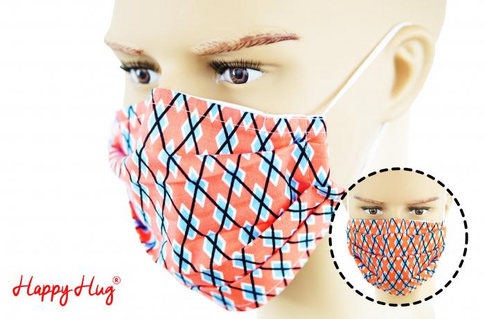 Mască Textilă cu Pliuri - Romburi Corai [0]
