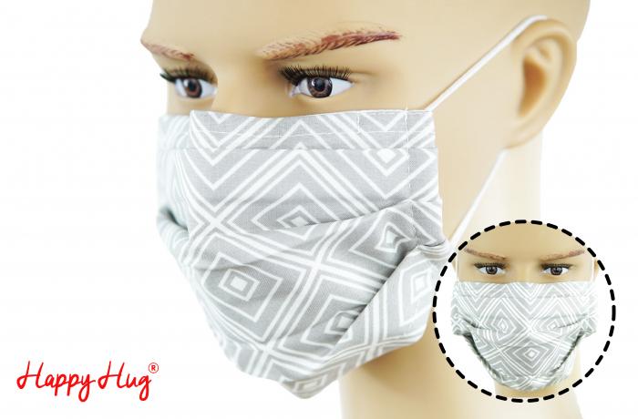 Mască Textilă cu Pliuri - Romburi Gri 0
