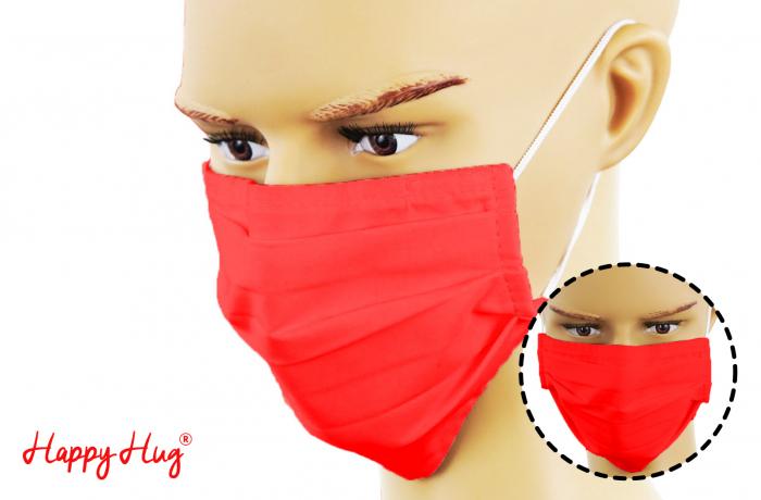 Mască Textilă cu Pliuri - Roșu [0]