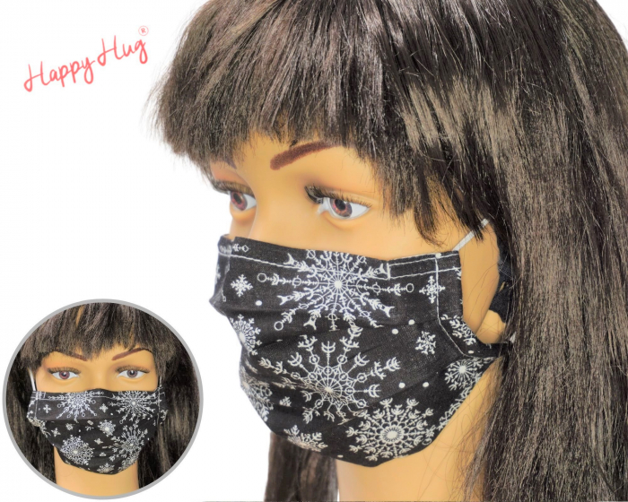 Mască Textilă cu Pliuri - Snowflakes black 0