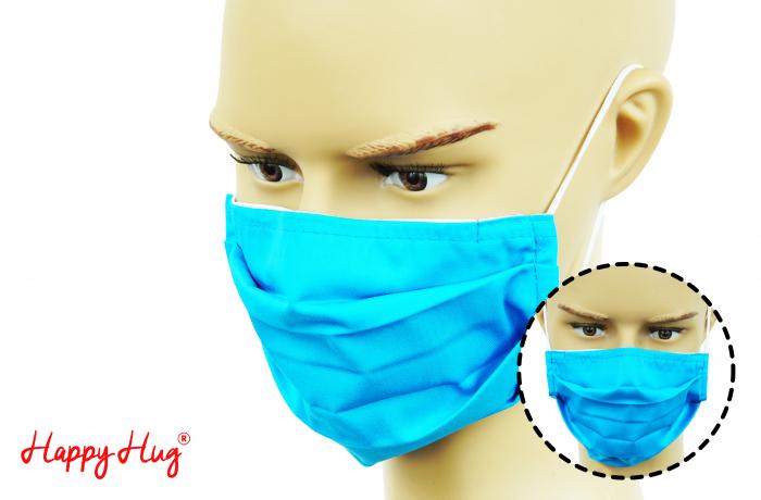 Mască Textilă cu Pliuri - Turcoaz 0