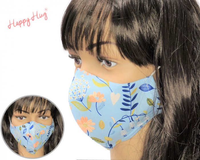 Mască Textilă - Flori bleu 0