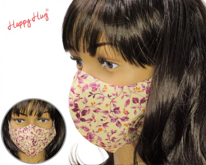 Mască Textilă - Flori bordeaux  [0]