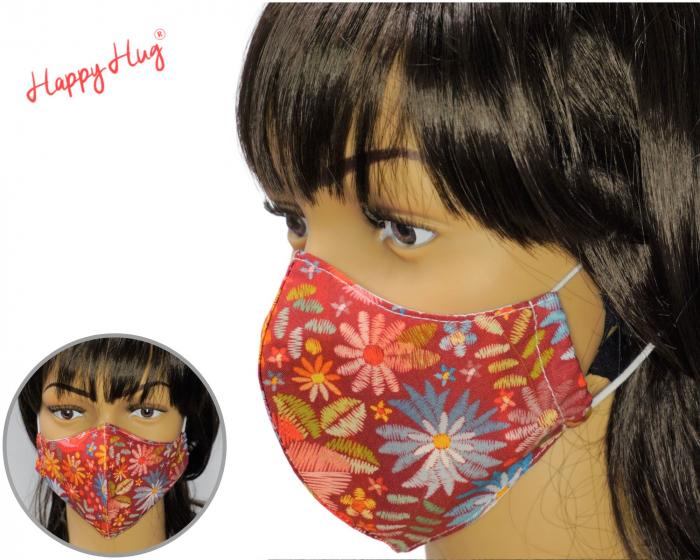 Mască Textilă - Flori bordeaux multicolor [0]