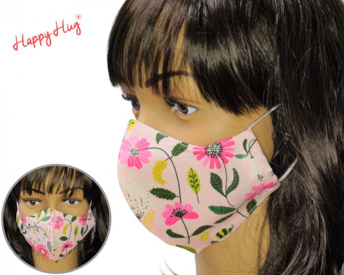 Mască Textilă - Flori roz [0]