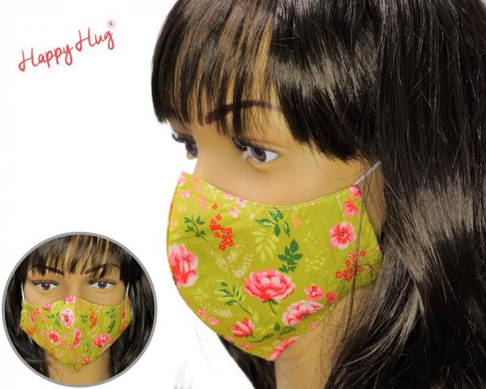 Mască Textilă - Flori verde praz 0