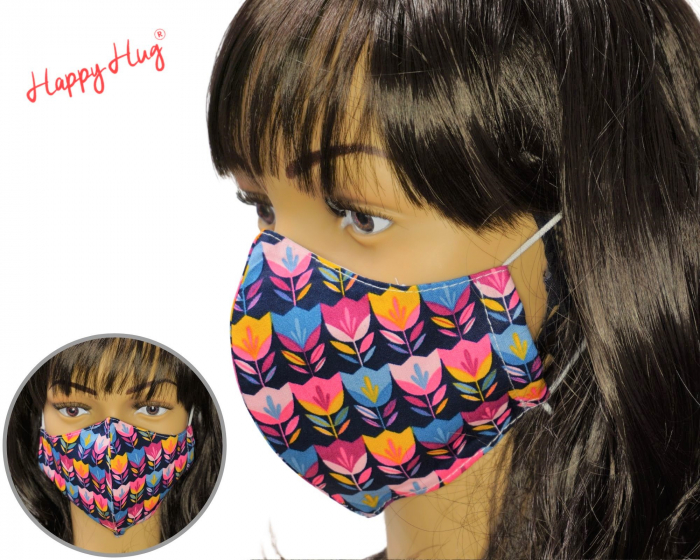 Mască Textilă - Lalele Bleumarin 0