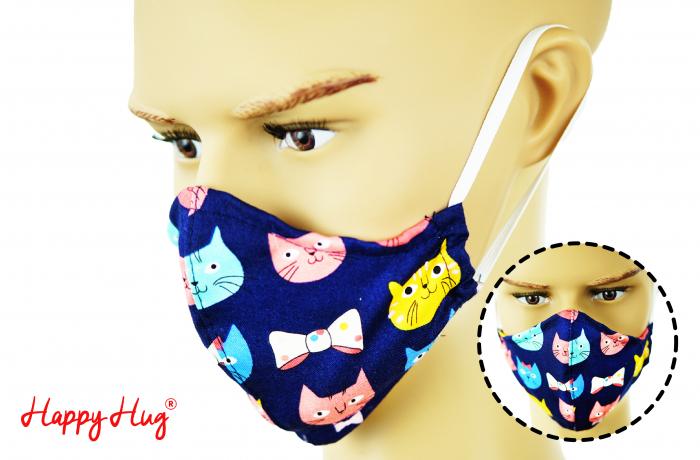 Mască Textilă - Pisici Navy 0
