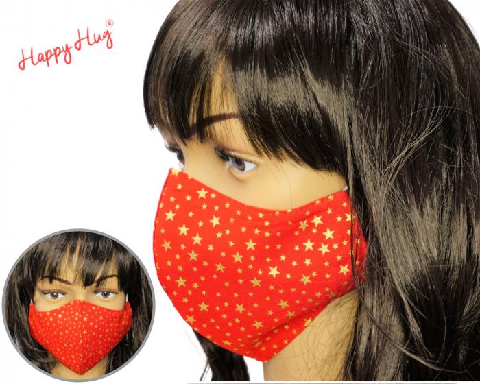 Mască Textilă - Stelute aurii fond rosu  0