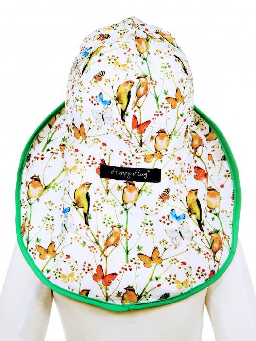 Pălărie de Soare - Păsări & Fluturi (alb) 4