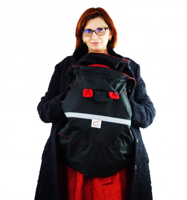 Protecție Iarnă Glugă cu Urechi Negru/Red 2