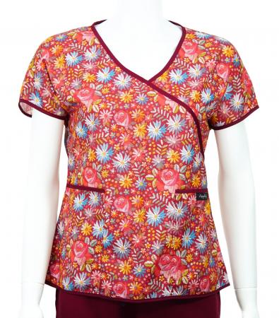 Bluză Compleu - Designer Print - Bordeaux Flowers 46 [0]