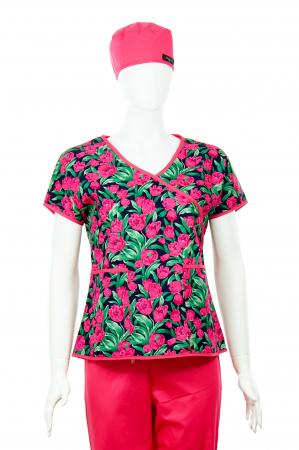 Bluză Compleu - Designer Print - Pink Flowers [1]
