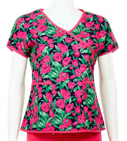 Bluză Compleu - Designer Print - Pink Flowers0