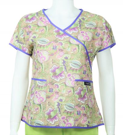 Bluză Compleu - Designer Print -  Purple Flower [0]