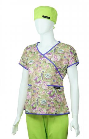 Bluză Compleu - Designer Print -  Purple Flower [2]